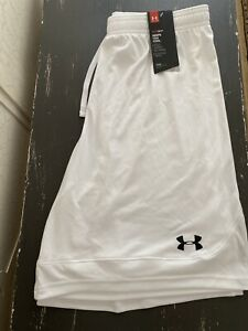 Mens Under Armour Heat Gear White Pull On Athletic Shorts Size Medium NWTS $15.00