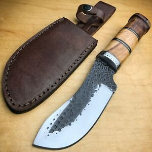 10quot; Antique Hunting Carbon Steel Fixed Blade Survival Knife Wood Handle Skinner