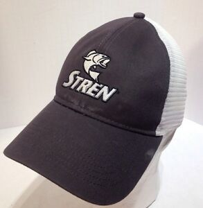 Stren Fishing Line Mesh Snapback Adjustable Trucker Hat Cap Gray