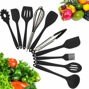 10 Piece Silicone Cooking Utensils Set Serving Spoons Spatula Tong Kitchen Pasta