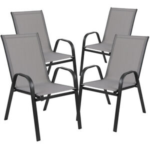 4 PACK All Weather Outdoor Patio Stakable Chairs in Gray Fabric amp; Metal Frame