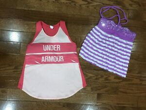 Girls Size 8 Lot Under Armour Justice Shirts Tops Tanks Sport Kid Clothing Pink $12.94
