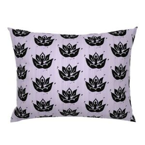 Yoga Lotus Lavender Silhouette Pillow Sham by Roostery