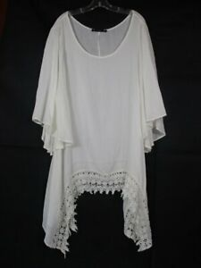 By Together Womens 2XL Ivory Asymmetrical Hem Long Flowing Tunic Top