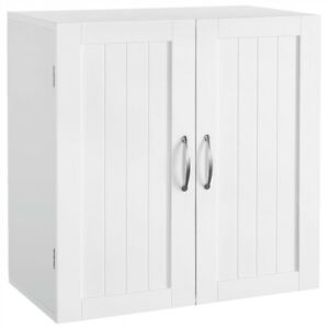 Wall Mount Wooden Cabinet Storage Organizer Cupboard with Adjustable Shelf White