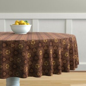 Round Tablecloth Lion Geometric Kaleidoscope Animal Brown Gold Zoo Cotton Sateen