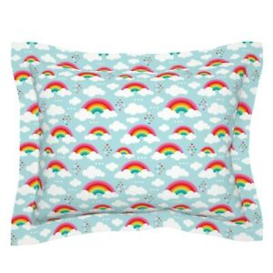 Clouds Rainbow Sky Girls Kids Nursery Hearts Pillow Sham by Roostery