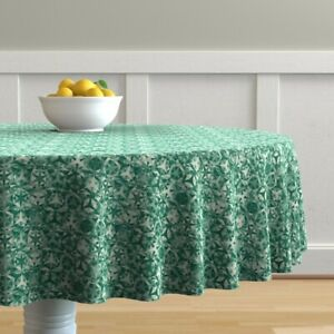 Round Tablecloth Stars Geometric Kaleidoscope Emerald Small Scale Cotton Sateen