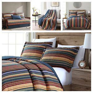 Pre Washed Cotton Quilt Set Multi Striped Reversible Bedspread Daybed Coverlet