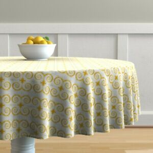 Round Tablecloth Floral Abstract Kaleidoscope Yellow Botanical Cotton Sateen