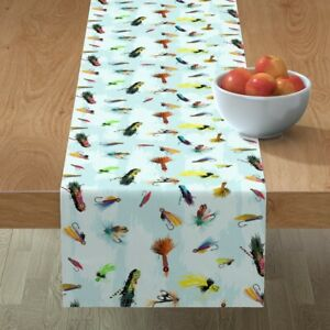 Table Runner Fly Fishing Lures Sport Water Feathers Hooks Outdoors Cotton Sateen
