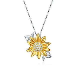 S925 Silver Sunshine Sunflower Pendant Necklace For Women with Box Chain 18quot;