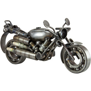 Motorcycle Cruise Spark Plug Bolts Wires Recycled Metal Figure Art Sculpture $63.00
