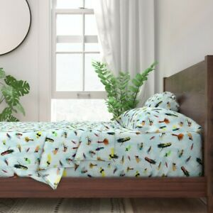 Fly Fishing Lures Sport Water Feathers 100% Cotton Sateen Sheet Set by Roostery