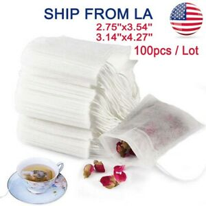 100pcs Non woven Disposable Empty Teabags Loose Herbs Tea Bags with Drawstring