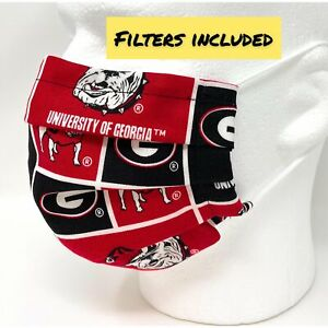 Georgia Bulldogs Face Mask Pleated with Nose Wire Filter Pocket US made