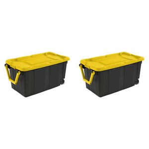 Wheeled Tote Plastic Storage Container Box 40 Gal 2 Pack Organizer With Lid Bin