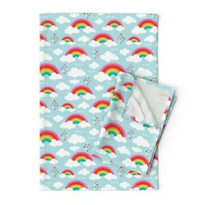 Clouds Rainbow Sky Girls Kids Linen Cotton Tea Towels by Roostery Set of 2