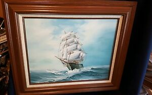 HAMILTON ORIGINAL SIGNED OIL PAINTING Antique ship w sails valued at $1500 $250.00