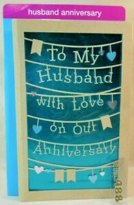 American greeting card Happy Anniversary TO MY HUSBAND WITH LOVE unique die cut