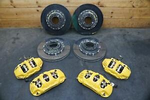 Set Front Rear Ceramic PCCB Brake Caliper Rotor Yellow Porsche 911 Turbo 2014-16