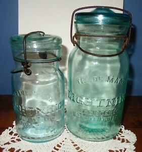 2 Antique Lightning Glass Canning Jars Cornflower?? Blue Green Putnam w Lids $43.50