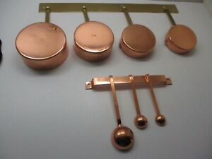 4 Vintage COPPER Measuring Cups SKILLET Pan Set (1/4 - 1 Cup) 3 Measuring Spoons