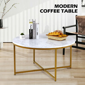 White Marble Round Coffee Table w/ Gold Metal Frame Home Living Room Furniture