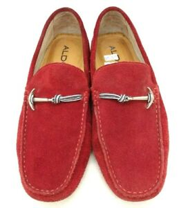 Aldo Red Suede Leather Anchor Detail Slip On Driving Loafers Shoes Mens 40 7.5