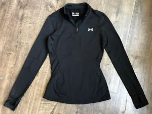 UNDER ARMOUR Women's Small S Black Coldgear Fitted Running Jacket 1 4 Zip $14.90