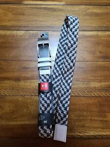 Under Armour Mens Braided Golf Belt Black White Size 36 NWT $30.00