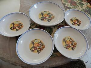 Pasta Serving Bowl Set 5 Piece Hand Painted Great For Pasta / Salad And More