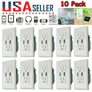 US Dual USB Wall Outlet Charger Port Socket with 15A Electrical Receptacles Home $18.99
