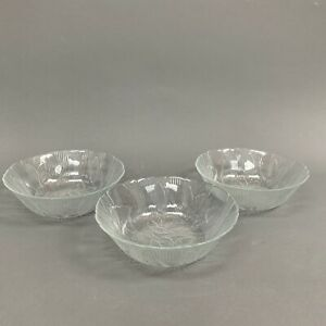Arcoroc Canterbury Soup Cereal Bowls Embossed Crocus Clear Glass 6 3/8 Lot of 3