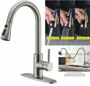 Kitchen Sink Faucet Swivel Spout Deck Mount Single Hole Mixer Tap Brushed Nickel