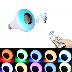 Wireless Bluetooth LED Light Speaker Bulb RGB E27 12W Music Playing lamp Remote