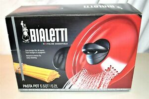 New Bialetti Red Nonstick Oval 5 Quart Large Stone Pasta Pot with Strainer Lid