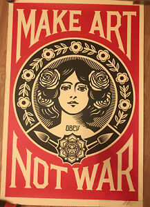 OBEY GIANT Peace GirlMake Art Not War signed LITHOGRAPH SHEPARD FAIREY 36x24 $150.00