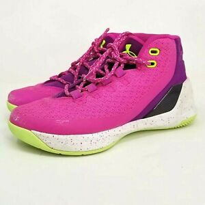 Under Armour Curry 3 DUB Youth Kids Girls Basketball Shoes Size 5Y pink green $29.99