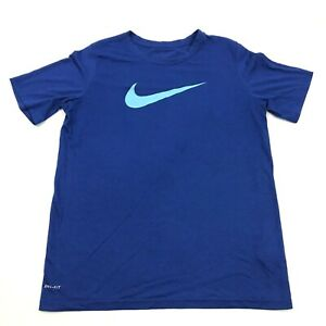 NIKE Dry Fit Shirt Youth Size Extra Large XL Royal Blue Dri FIT Short Sleeve Boy $14.77