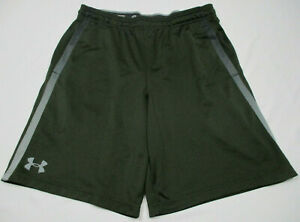 UNDER ARMOUR MEN'S TRAINING SHORTS SZ LARGE OLIVE DRAB GREEN GRAY ATHLETIC GYM $17.59