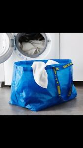 ** 2 IKEA SHOPPING BAG TOTE REUSABLE LAUNDRY GROCERY STORAGE FRAKTA **