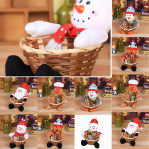 Merry Christmas Candy Gift Storage Basket Decor Santa Claus Cute Storage Basket