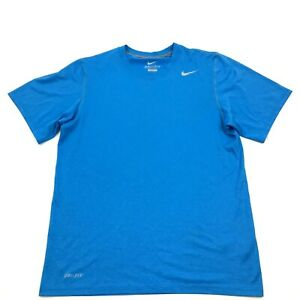 NIKE Dry Fit Shirt Men#x27;s Size Small S Baby Blue Short Sleeve Dri FIT Workout Tee $18.77