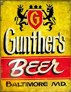 TIN SIGN quot;Gunthers Beerquot; Beer Mancave Wall Decor