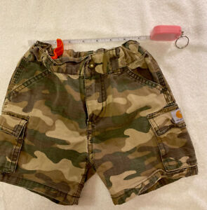 Size 2T Carhartt Camouflage Shorts in excellent condition inside adjustable band