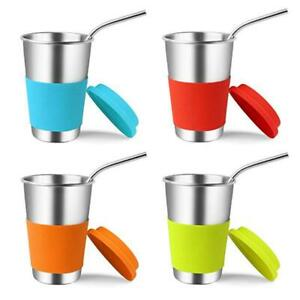 4pcs 500ML Stainless Steel Drinking Cups Set Tumblers with Lids Straws $S1