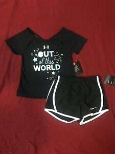 Under Armour Girls T Shirt & Nike Dri Fit Fully Lined Shorts Sz 4 Years NWT $22.99
