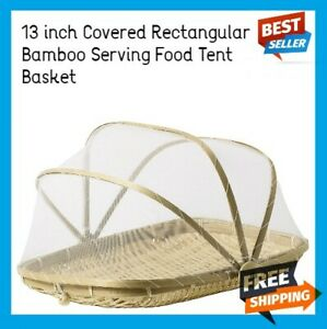 Bamboo Tent Basket Serving Food Outdoor Picnic Pop Up Mesh Screen Net Cover Set