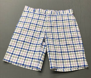 Nike Dri Fit Golf Shorts 36 x 10.5, Blue, Purple, White, Checks 080820C $24.98